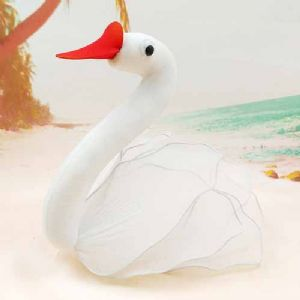 Handmade nylon product, wires and Nylon, white, Swan, 1 Animal, 15cm x 15cm, [SW082]